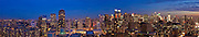 Massive panoramic photograph of Manhattan looking from the Hudson River due east, showing Lincoln Center and the Time Warner Center in the middle, Central Park to the north and Battery Park to the south.
