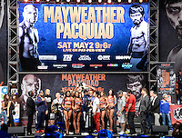 May 1.2015. Las Vegas NV. (L-R)Floyd Mayweather Jr. faces off with Manny Pacquiao during todays weigh in at the MGM Grand Hotel Friday. Floyd Mayweather Jr. will be taking on Manny Pacquiao Saturday May 2nd at the MGM grand hotel in Las Vegas. Photo by Gene Blevins/LA DailyNews