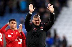Manchester United caretaker manager Ole Gunnar Solskjaer celebrates the results at the end of the Premier League match at the King Power Stadium, Leicester.