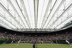 © Licensed to London News Pictures. 19/05/2019. London, UK. Tennis players Martina Navratilova, Jamie Murray, Kim Clijsters and John McEnroe take part in an exhibition match at the Wimbledon No.1 Court Celebration event. The event marks the unveiling of a retractable roof and extended seating capacity at a cost of £70 million. Photo credit: Ray Tang/LNP