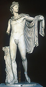 Apollo Belvedere Ancient Greek  (c400-323 BC) marble statue. Apollo/Helios god of music, poetry, prophecy and healing. Ideal of youthful manly beauty.  Vatican Museum, Rome.