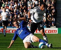 Photo: Steve Bond.<br /> Derby County v Everton. The FA Barclays Premiership. 28/10/2007. Giles Barnes (R) is fouled by Phil Jagielka (L) resulting in a booking