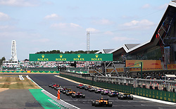 A general view of racers at the starting line during the 2018 British Grand Prix at Silverstone Circuit, Towcester.