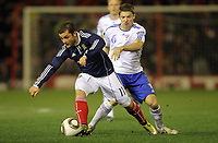 Football - International Friendly - Scotland vs Faroe Islands<br /> Jann Ingi Peterson of Faroe islands and Shaun Maloney of Scotland during the International Friendly between Scotland and Faroe Islands at Pittodrie Stadium.