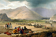 First Anglo-Afghan War 1838-1842: British army at Urghundee with 25 guns abandoned by Dost Mohammed. From J Atkinson 'Sketches in Afghanistan' London 1842.  Hand-coloured lithograph.