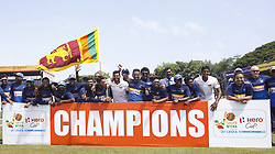 July 23, 2018 - Colombo, Sri Lanka - Sri Lankan cricket team pose for a photograph after defeating the South African team 2-0 in the Test cricket series during the 4th day's play in the 2nd test cricket match between Sri Lanka and South Africa at SSC International Cricket ground, Colombo, Sri Lanka on Monday  23 July 2018  (Credit Image: © Tharaka Basnayaka/NurPhoto via ZUMA Press)