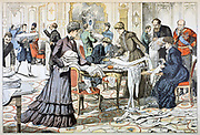 Russo-Japanese War 1904-1905: Workroom in the Winter Palace, St Petersburg, supervised by the Tsarina, producing dressings and gowns for wounded Russians. Note sewing machines.  From 'Le Petit Journal', Paris, 28 February 1904.