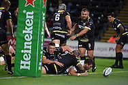 Luke Cowan-Dickie of Exeter 'scores' a try but it is disallowed. European Rugby Champions Cup match, Ospreys v Exeter Chiefs at the Liberty Stadium in Swansea, South Wales on Sunday 15th November 2015. pic by Andrew Orchard, Andrew Orchard sports photography.