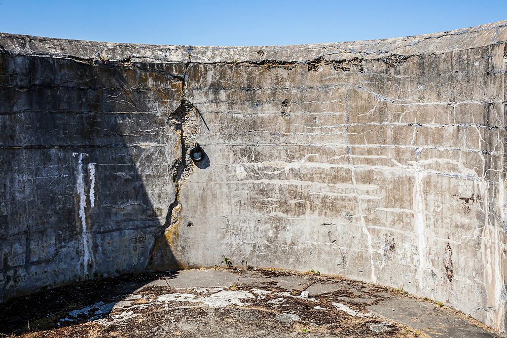 A detail of one of the deteriorating walls in Fort Casey on Whidbey Island, Washington, USA.