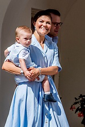 Crown Princess Victoria and husband Prince Daniel with Prince Oscar during the traditionally celebration of Crown Princess Victoria's birthday at the royal family's summer residence, Solliden Palace in Borgholm, Öland, Sweden, on July 15, 2017, a day later Stockholm celebration. Photo by Robin Utrecht/ABACAPRESS.COM