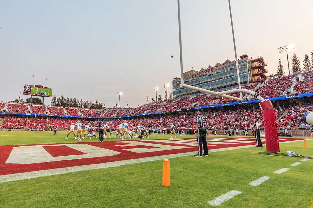 PALO ALTO, CA - SEPTEMBER 26:  The Stanford Cardinal kick an extra point during an NCAA Pac-12 college football game against the UCLA Bruins on September 26, 2021 at Stanford Stadium in Palo Alto, California.  (Photo by David Madison/Getty Images)