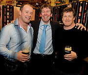 Niall Toland from Co. Clare with  Rugby legends Frankie Sheahan and Paul Wallace at the Guinness Area22 event in the Carlton Hotel Galway.