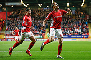 GOAL 1-0 Charlton Athletic midfielder Krystian Bielik (4) scores and celebrates during the EFL Sky Bet League 1 second leg Play-Off match between Charlton Athletic and Doncaster Rovers at The Valley, London, England on 17 May 2019.