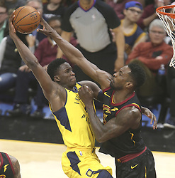 April 29, 2018 - Cleveland, OH, USA - Indiana Pacers' Victor Oladipo has his third quarter shot blocked by Cleveland Cavaliers' Jeff Green in Game 7 of the Eastern Conference First Round series on Sunday, April 29, 2018 at Quicken Loans Arena in Cleveland, Ohio. The Cavs won the game, 105-101. (Credit Image: © Phil Masturzo/TNS via ZUMA Wire)
