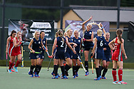 Belarus players celebrate their win. Belarus v Wales, EuroHockey 11 Women's championshp 2017 in Cardiff, South Wales , Wednesday 9th August 2017<br /> pic by Andrew Orchard