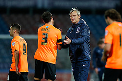 Brighton Manager Sami Hyypia thanks Gordon Greer of Brighton after the match ends in a 1-1 draw - Photo mandatory by-line: Rogan Thomson/JMP - 07966 386802 - 21/10/2014 - SPORT - FOOTBALL - Huddersfield, England - The John Smith's Stadium - Huddersfield Town v Brighton & Hove Albion - Sky Bet Championship.