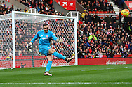 Stoke City Goalkeeper Jack Butland takes a goal kick. Barclays Premier league match, Stoke city v Manchester city at the Britannia Stadium in Stoke on Trent, Staffs on Saturday 5th December 2015.<br /> pic by Chris Stading, Andrew Orchard sports photography.