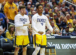 Mar 20, 2019; Morgantown, WV, USA; West Virginia Mountaineers guard Brandon Knapper (2) celebrates from the bench during the second half against the Grand Canyon Antelopes at WVU Coliseum. Mandatory Credit: Ben Queen