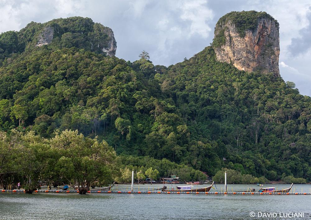 View on some limestone hills in Krabi.