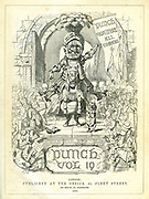 Punch Title Page for Volume 19 - Punch Against All Comers. (a giant Mr Punch as knight in full armour rides a horse alongside his dog Toby, standing proud among a crowd outside a castle)