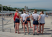 Plovdiv, Bulgaria, 9th May 2019, FISA, Rowing World Cup 1, NED W8+ , team briefing, after training outing.  [© Peter SPURRIER]
