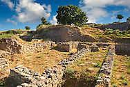 Walls and remains of buildings of Troy, from Troia VI-Late/VIIa citadel  & Troia IX period 14th/13th cent. B.C. Troy archaeological site, A UNESCO World Heritage Site, Turkey .<br /> <br /> If you prefer to buy from our ALAMY PHOTO LIBRARY  Collection visit : https://www.alamy.com/portfolio/paul-williams-funkystock/troy-archaeological-site-turkey.html<br /> <br /> Visit our ANCIENT WORLD PHOTO COLLECTIONS for more photos to download or buy as wall art prints https://funkystock.photoshelter.com/gallery-collection/Ancient-World-Art-Antiquities-Historic-Sites-Pictures-Images-of/C00006u26yqSkDOM