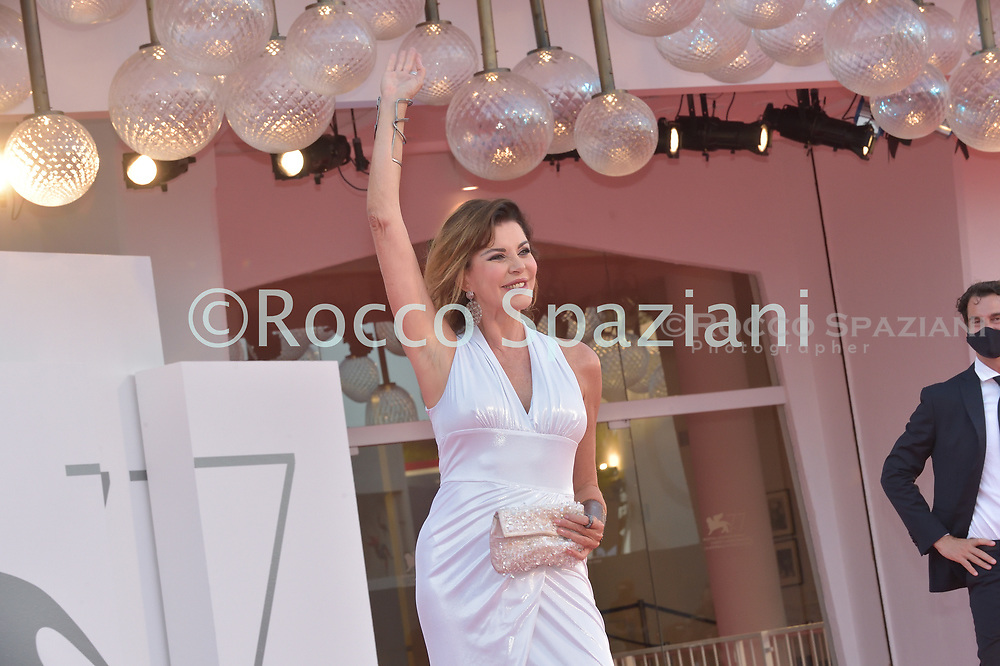 """VENICE, ITALY - SEPTEMBER 09:Alba Parietti the red carpet ahead of the movie """"Le Sorelle Macaluso"""" at the 77th Venice Film Festival on September 09, 2020 in Venice, Italy.<br /> (Photo by Rocco Spaziani)"""