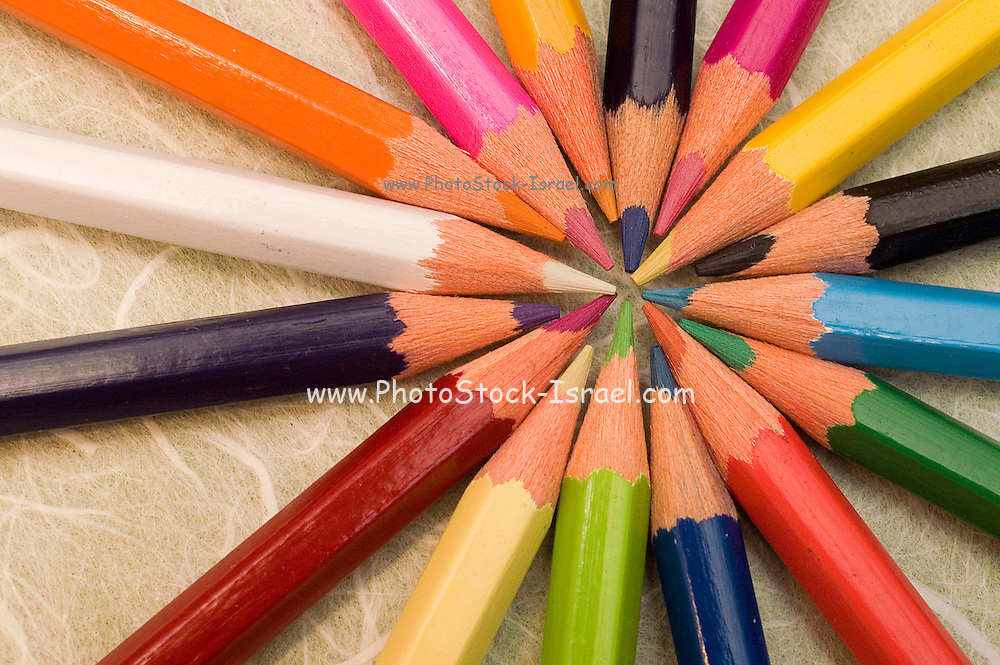 Sharpened coloured pencil crayons