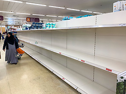 © Licensed to London News Pictures. 09/03/2020. London, UK. Shelves empty of toilet rolls at Sainsbury's supermarket on Ladbroke Grove, West London. New cases of the COVID-19 strain of Coronavirus are being reported daily as the government outlines it's plans for controlling the outbreak. Photo credit: Ben Cawthra/LNP
