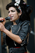 T In The Park  2008..13/07/08..Troubled Superstar, singer Amy Winehouse put her troubled aside as she entertains the crowd during the Third and final day of this years, T IN THE PARK  Scotland's Premier Music Festival. Now in it's 15th year, and still going strong since 1994. The first 3 years were held at Strathclyde Country Park, but in 1997 moved to Balado near Kinross . At This years T in the Park, Balado - By Kinross today...Picture by Mark Davison / PLPA