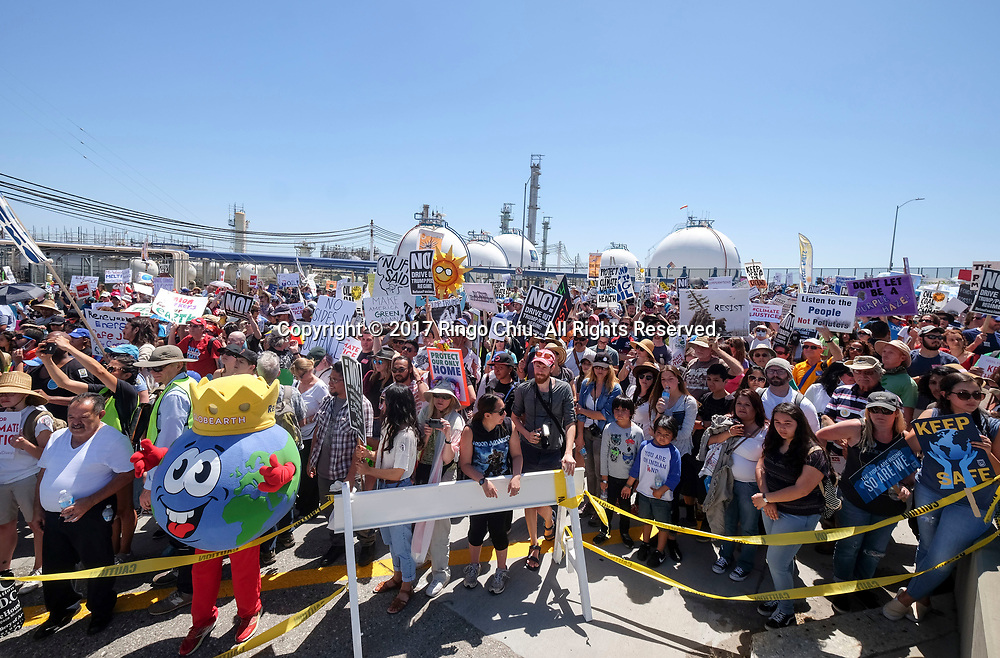 """Thousands people participate in """"People's Climate March"""" a climate change awareness march and rally, in Los Angeles, Saturday, April 29, 2017. The gathering was among many others of its kind held nationwide marking President Donald Trump's 100th day in office.(Photo by Ringo Chiu/PHOTOFORMULA.com)<br /> <br /> Usage Notes: This content is intended for editorial use only. For other uses, additional clearances may be required."""