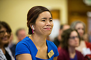 City of Fremont Council-member Teresa Keng listens to panel discussion during the Silicon Valley Business Journal's Future of Fremont event at Fremont Marriott Silicon Valley in Fremont, California, on June 18, 2019.  (Stan Olszewski for Silicon Valley Business Journal)