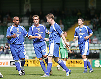Photo: Lee Earle.<br /> Yeovil Town v Cardiff City. Pre Season Friendly. 21/07/2007.Cardiff's Stephen MAclean (2nR) is congratulated after scoring their second goal.