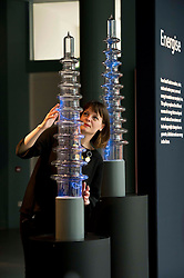 Pictured: Elsa Cox, Senior Curator of Technology, demonstrates the Crackle Tubes<br /> <br /> The National Museum of Scotland will launch ten new galleries on 8 July following a £14.1 million redevelopment in their 150th year.  <br /> <br /> Ger Harley   EEm 5 July 2016