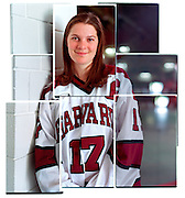 Senior captain of the Harvard Women's Hockey team Jennifer Botterill, inside the Bright Hockey Arena, Tuesday, May 20, 2003.  Botterill was chosen as the Player of the Year for the second time by the New England Hockey Writers Association and elected to the Division I All-Star team.  She also earned the honor in 2001. Earlier this season Botterill became the first two-time recipient of the Patty Kazmaier Award, and the first woman to be named first-team All-America each of her four years. She was the 2003 ECAC and Ivy League Player of the Year and ended her career as the all-time leading scorer in men's or women's Division I hockey  Staff Photo Justin Ide/Harvard University News Office