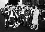 Members of the Roller All Star Hockey Club assemble outside Kilmainham Jail, Dublin, before setting out on a non-stop roller skating marathon from Dublin to Cork to raise money for the Central Remedial Clinic. Dublin's Lord Mayor, Fergus O'Brien, inspects their equipment before they leave. On the right is Senator Lady Valerie Goulding, Chairperson and Managing Director of the CRC.<br />