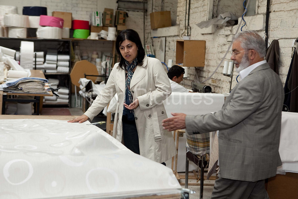 Baroness Sayeeda Warsi at her father's (Safda Hussain) factory, where she still works when she can, she has a 33% share of the business. Being an entrepreneurial Muslim and daughter of an immigrant factory owner the shadow minister for community cohesion and social action, Baroness Warsi from Dewsbury, is seen by some Tories as one of the figureheads for the modern Tory party.