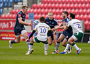 Sale Sharks Will Cliff passes to centre Conor Doherty during a Gallagher Premiership Round 14 Rugby Union match, Sunday, Mar 21, 2021, in Eccles, United Kingdom. (Steve Flynn/Image of Sport)