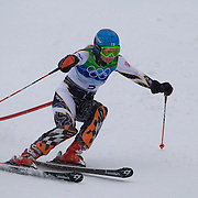 Winter Olympics, Vancouver, 2010.Tanja Poutiainen, Finland,  in action in the Alpine Skiing Ladies Slalom at Whistler Creekside, Whistler, during the Vancouver Winter Olympics. 24th February 2010. Photo Tim Clayton