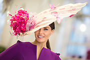 Aoife Hickey of the Holman Lee Agency wearing a hat by Milliner Antoinette O'Connell ahead of the fashion show at the Limerick Craft Hub. Photograph by Eamon Ward