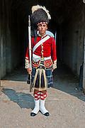 Traditional dressed guard Fort George,  Citadel Hill, a National Historic Site, Halifax, Nova Scotia, Canada