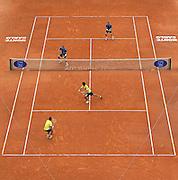 © Filippo Alfero<br /> Monte-Carlo Tennis Masters 2014, Finale<br /> Monaco, 20/04/2014<br /> sport tennis<br /> Nella foto: la finale di doppio, Bryan-Bryan (USA) vs Dodig (CRO)-Melo (BRA)