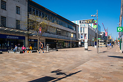The Moore pedestrian precinct  - Areas of Sheffield city centre virtually deserted of people during the UK's  Social distancing and emergency lockdown measures which were announced Monday the 23rd April <br /> <br /> 24 April 2020<br /> <br /> www.pauldaviddrabble.co.uk<br /> All Images Copyright Paul David Drabble - <br /> All rights Reserved - <br /> Moral Rights Asserted -
