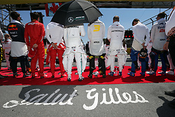 June 9, 2019 - Montreal, Canada - xa9; Photo4 / LaPresse.09/06/2019 Montreal, Canada.Sport .Grand Prix Formula One Canada 2019.In the pic: The drives observe the national anthem (Credit Image: © Photo4/Lapresse via ZUMA Press)