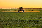 Spraying an early crop growth<br /> Dugald<br /> Manitoba<br /> Canada