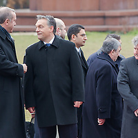 Recep Tayyip Erdogan (L) Prime Minister of Turkey and his counterpart Viktor Orban (2nd L) inspect the guard of honor during a welcoming ceremony in Budapest, Hungary on February 05, 2013. ATTILA VOLGYI