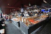 Inside the fish market, Fisketorget, Vagen harbour, city of Bergen, Norway