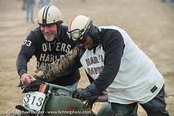 Randy Hayward get's help from Hollywood with his 1926 Harley-Davidson JD single at Getting Randy Hayward's 1926 JD single 350 cc motorcycle through the soft sand and to the pit area before the start ofTROG West - The Race of Gentlemen. Pismo Beach, CA, USA. Saturday October 15, 2016. Photography ©2016 Michael Lichter.