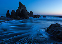 Twilight blues at Ruby Beach, Olympic National Park, Washington.