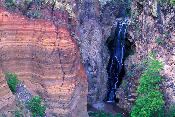 Waterfall and Rock Layers at Bandelier National Park